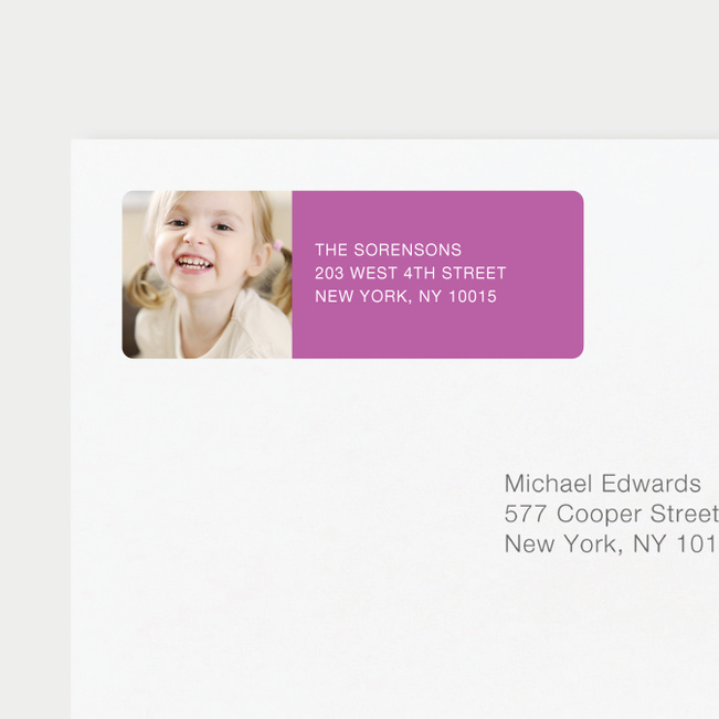 Vertical Photo Left Return Address Labels - Purple