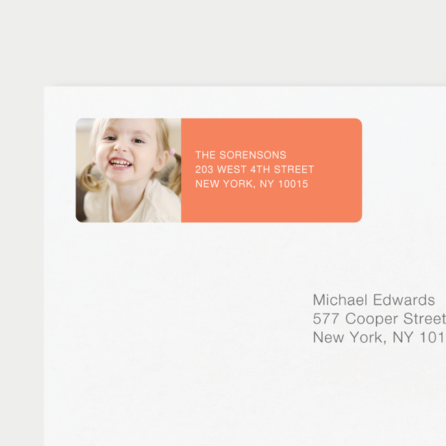 Vertical Photo Left Return Address Labels - Orange