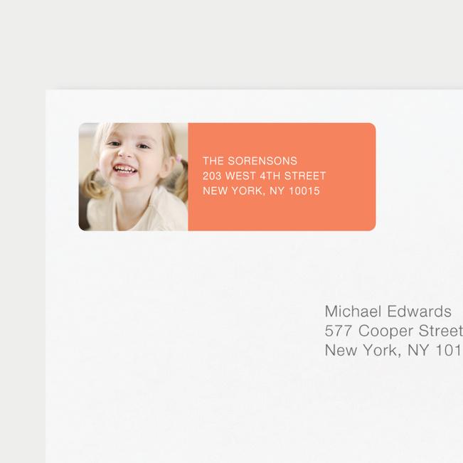 Vertical Photo Left Return Address Labels - Orange