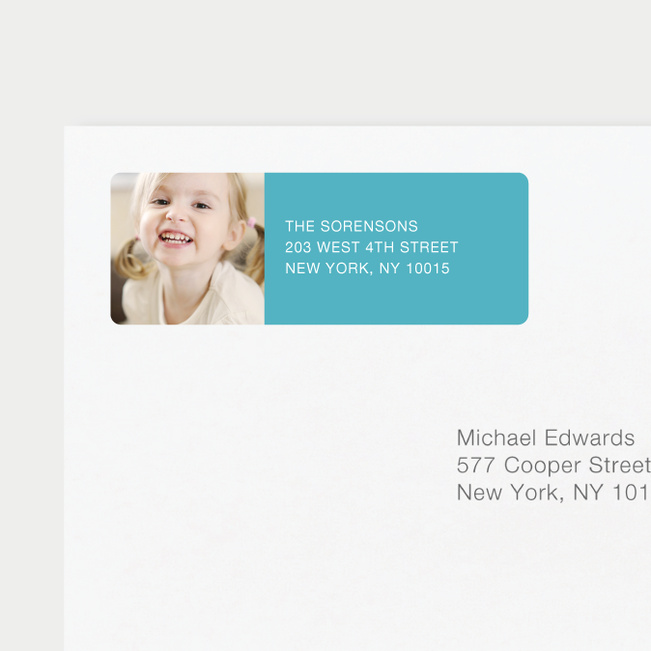 Vertical Photo Left Return Address Labels - Blue