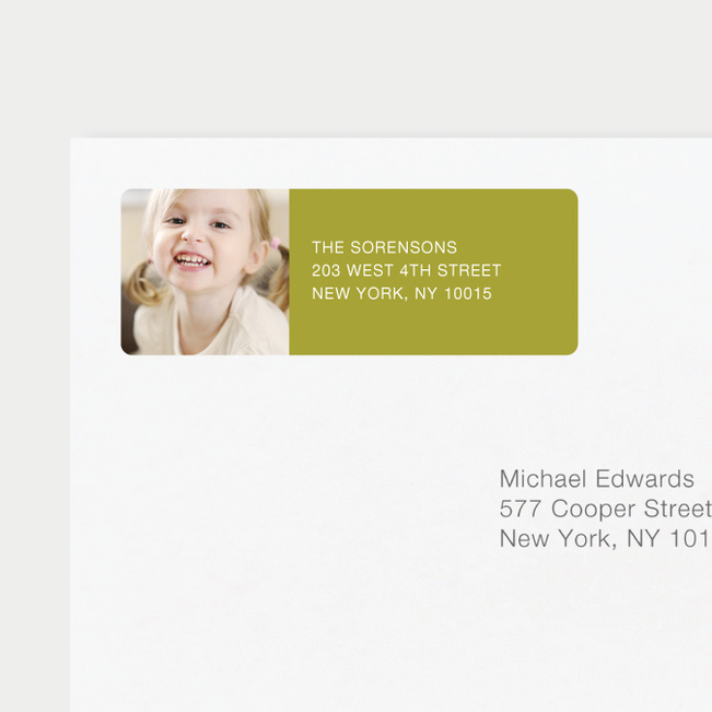 Vertical Photo Left Return Address Labels - Green