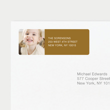 Vertical Photo Left Return Address Labels - Brown