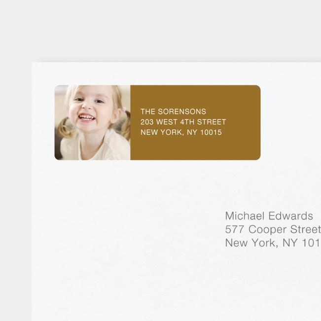 Vertical Photo Left Return Address Labels - Brown