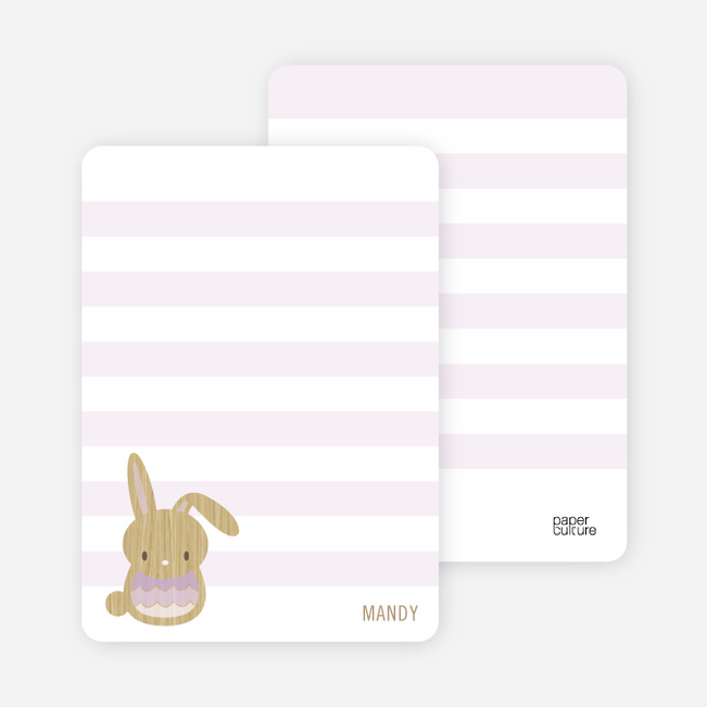 Woodblock Bunny Personal Stationery - Lilac