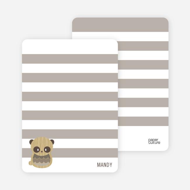 Woodblock Panda Personal Stationery - Mocha Panda