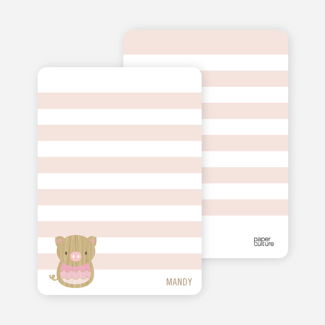 Woodblock Pig Personal Stationery - Piglet