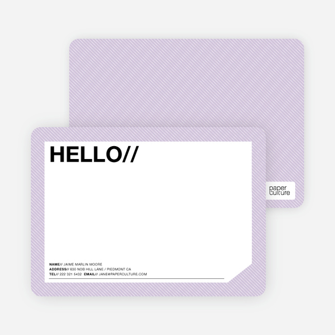 A Simple Hello: Modern Stationery - Periwinkle