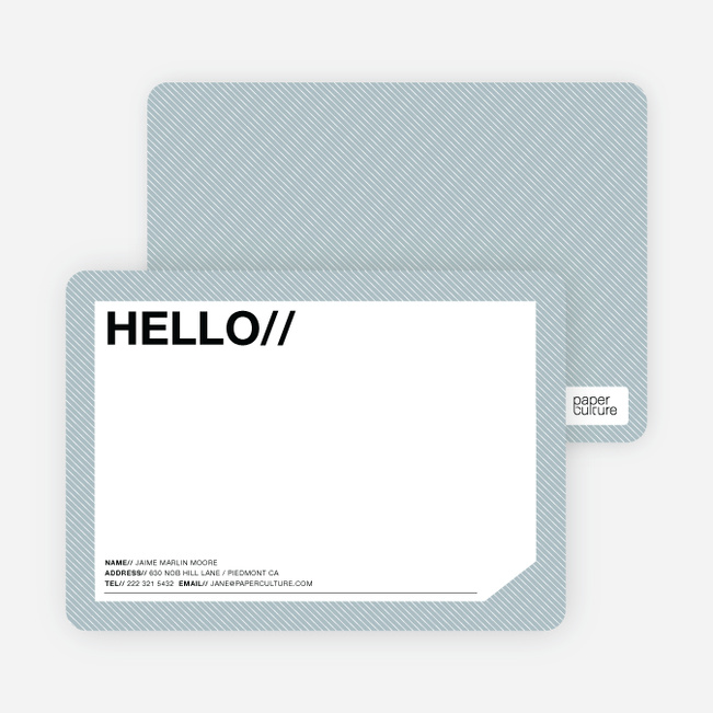 A Simple Hello: Modern Stationery - Blue Tea
