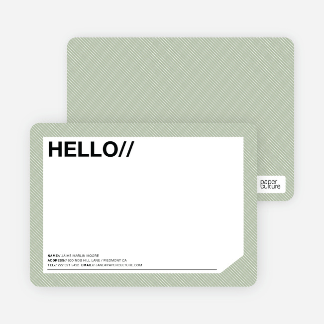 A Simple Hello: Modern Stationery - Mint Cream