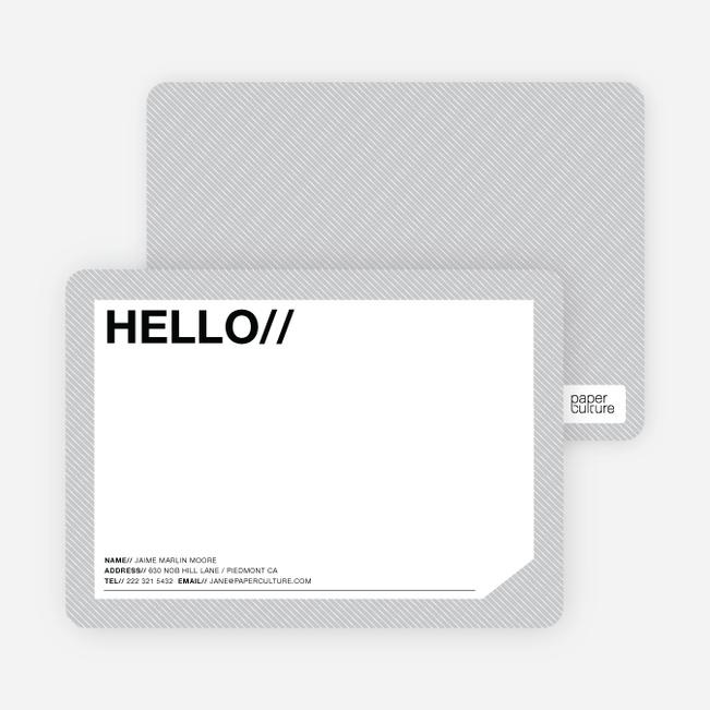 A Simple Hello: Modern Stationery - Cobblestone