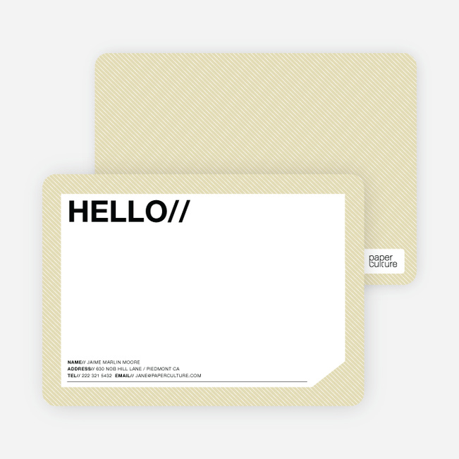 A Simple Hello: Modern Stationery - Vanilla Crunch