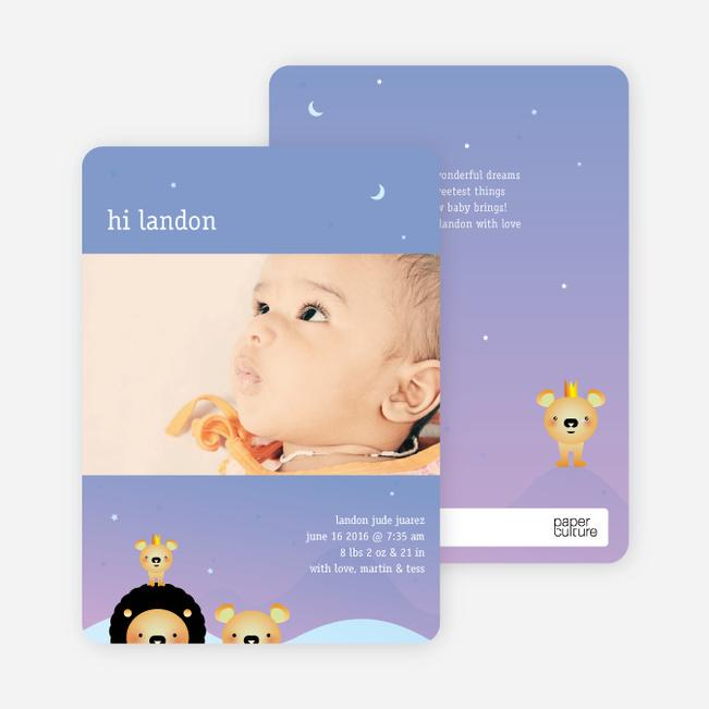 Animal Kingdom Birth Announcements - Lavender Dust
