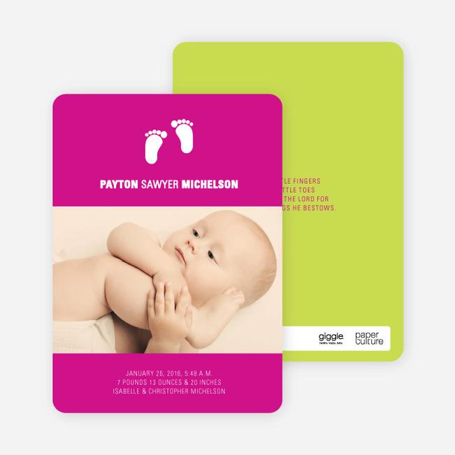 Baby Feet Photo Birth Announcements - Fuchsia