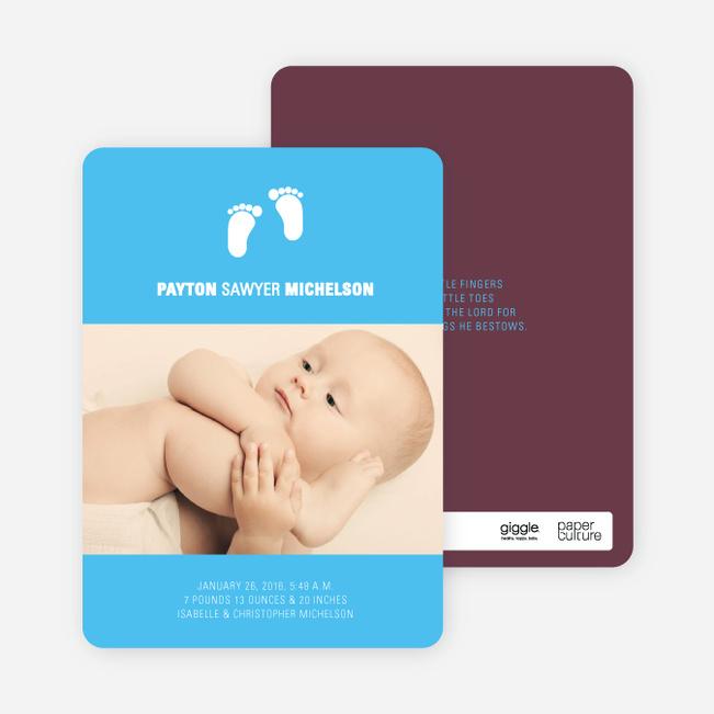 Baby Feet Photo Birth Announcements - Raisin