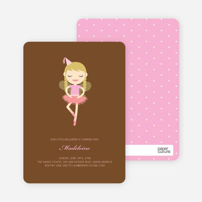 Ballerina Birthday Invitations - Russet Brown