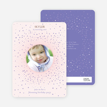 Blooming Star Kid's Birthday Invitations - Baby Pink