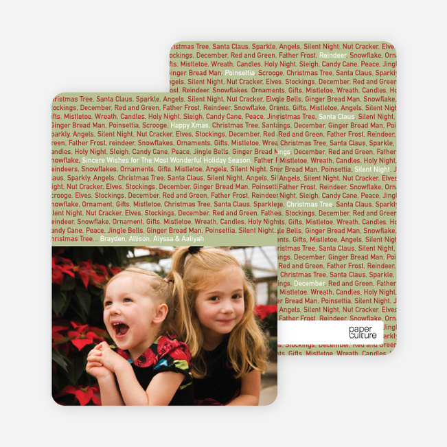 Christmas Cards: Christmas Phrases - Sage Green