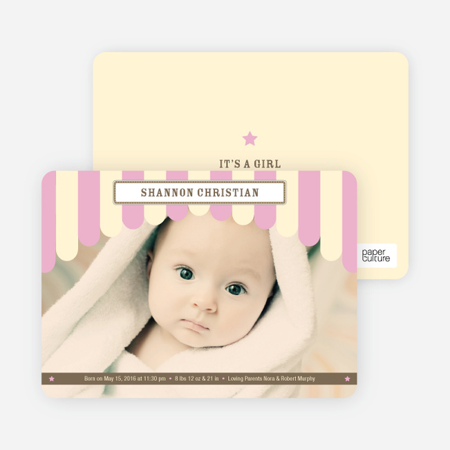 Circus has Arrived Birth Announcements - Pink Lolli