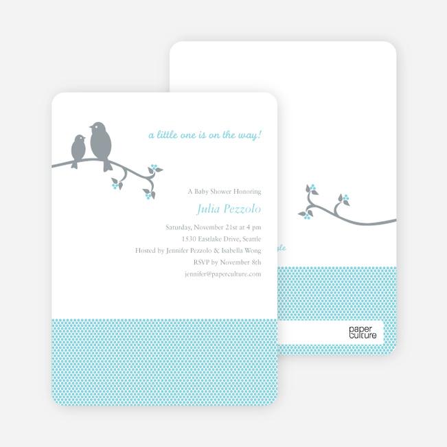 Classic Bird Baby Shower Invitation - Aqua