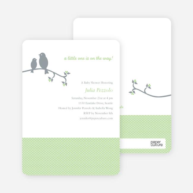 Classic Bird Baby Shower Invitation - Light Green
