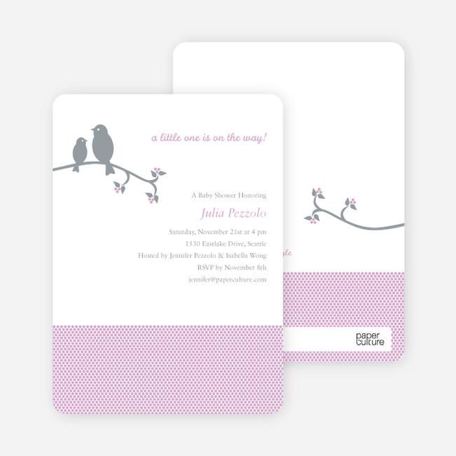 Classic Bird Baby Shower Invitation - Lilac
