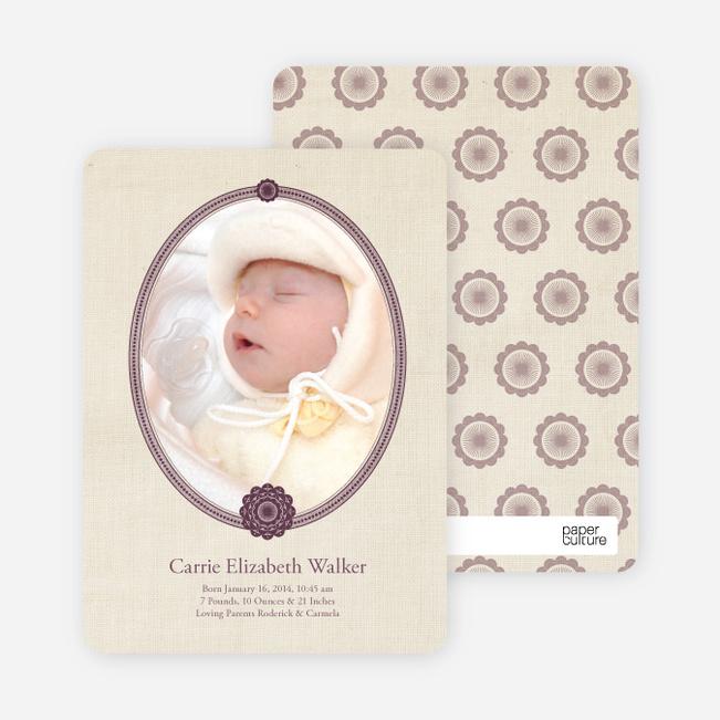 Classic Frames: Vintage Photo Birth Announcement - Mauve