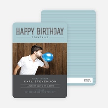 Cocktail Themed Birthday Party Invitations - Blue