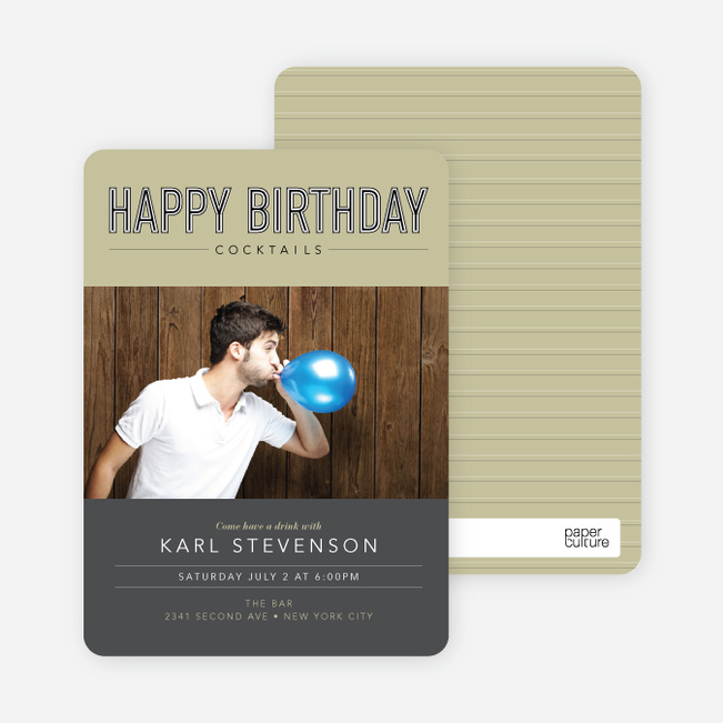 Cocktail Themed Birthday Party Invitations - Yellow