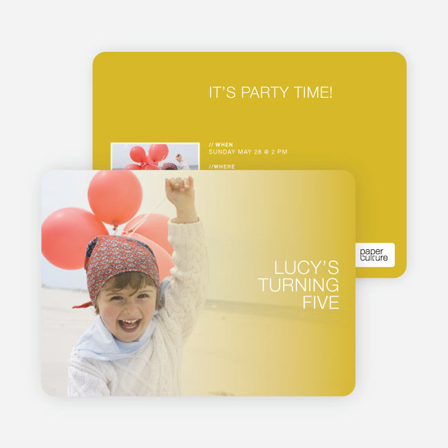 Color Focus Photo Birthday Party Invitations - Marmalade