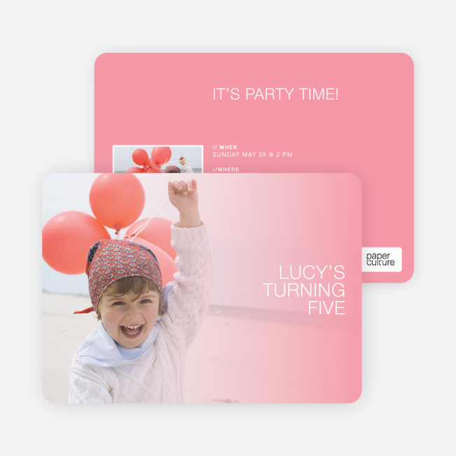 Color Focus Photo Birthday Party Invitations - Pink Fade