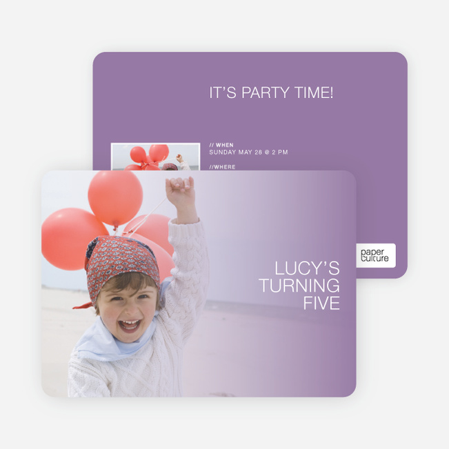 Color Focus Photo Birthday Party Invitations - Purple Mist