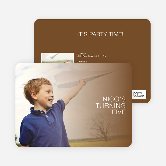 Color Focus Photo Birthday Party Invitations - Oak