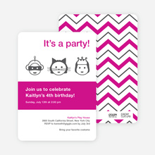 Costume Party Birthday Party Invitations - Fuchsia