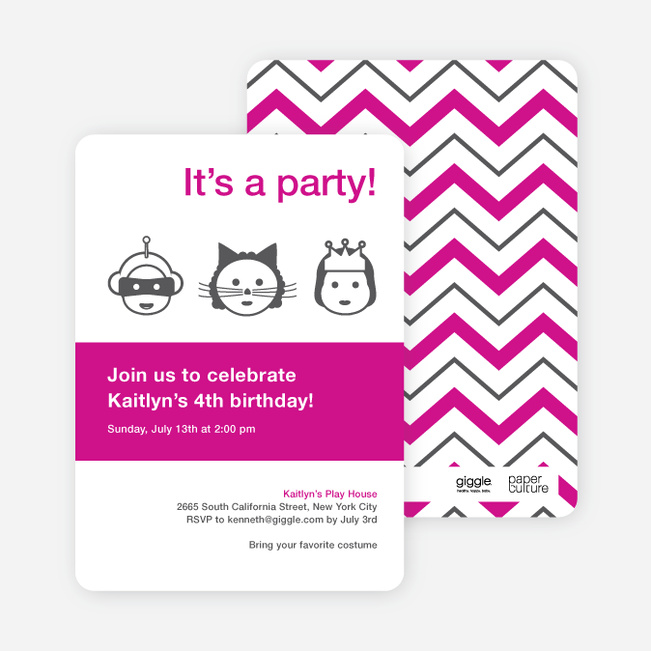 costume party birthday party invitations | paper culture, Party invitations