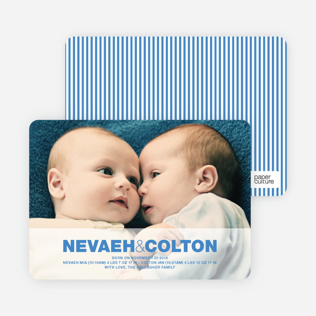 Cradle Talk Twin Photo Birth Announcements - Royal Blue