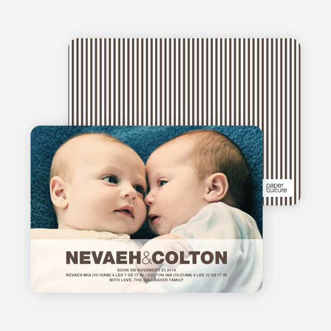 Cradle Talk Twin Photo Birth Announcements - Espresso
