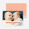 Cradle Talk Twin Photo Birth Announcements - Tangerine