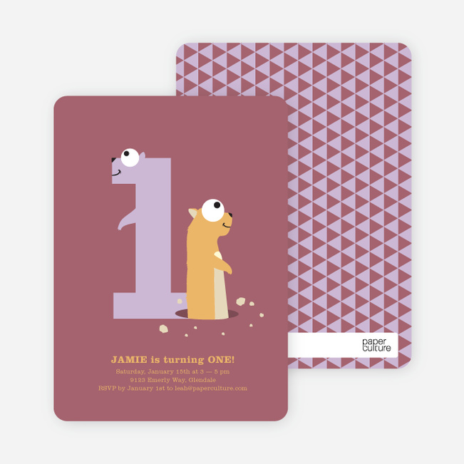 Dynamic Animal Duo Birthday Invitations - Sangria