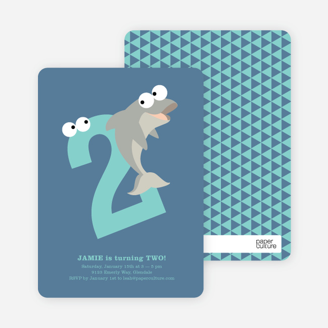 Dynamic Animal Duo Birthday Invitations - Blue Whale