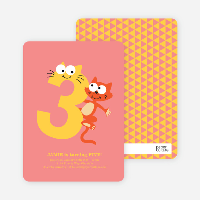 Dynamic Animal Duo Birthday Invitations - Grapefruit