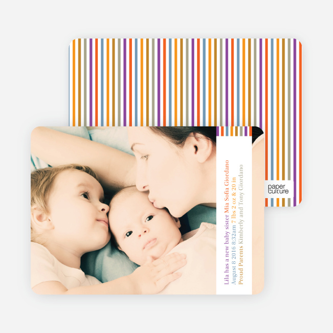 Dynamic Color Stripe Baby Announcements - Multi