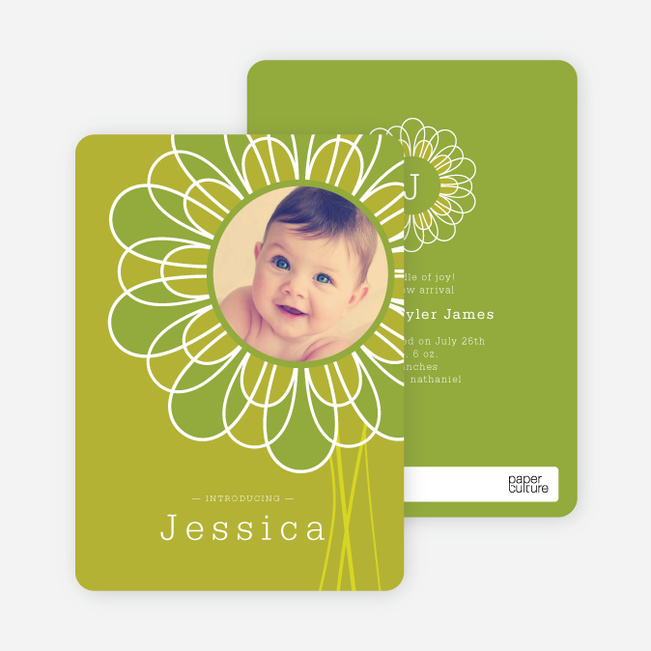 Flower Child Birth Announcements - Avocado Leaf