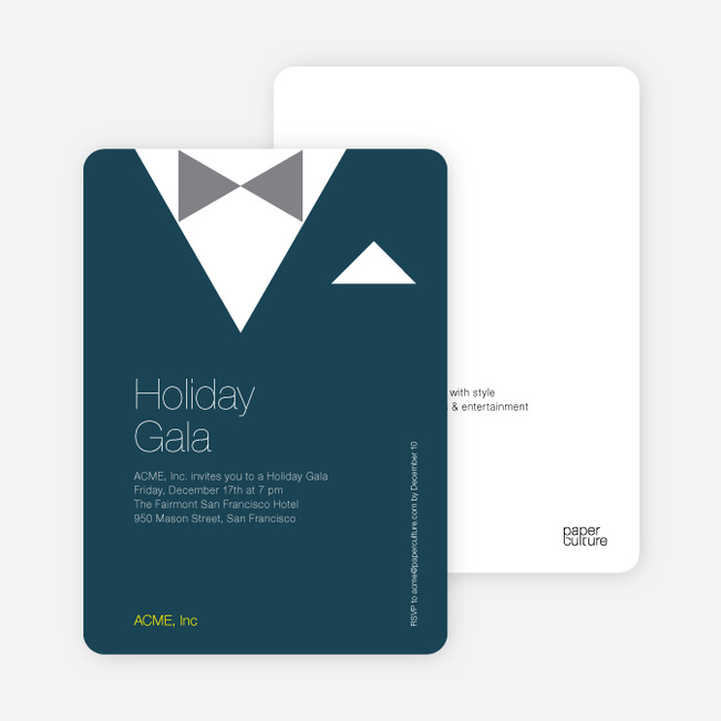 Formal Holiday Party Invitation Featuring Tuxedo Theme - Navy