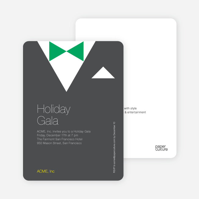 Formal Holiday Party Invitation Featuring Tuxedo Theme - Charcoal