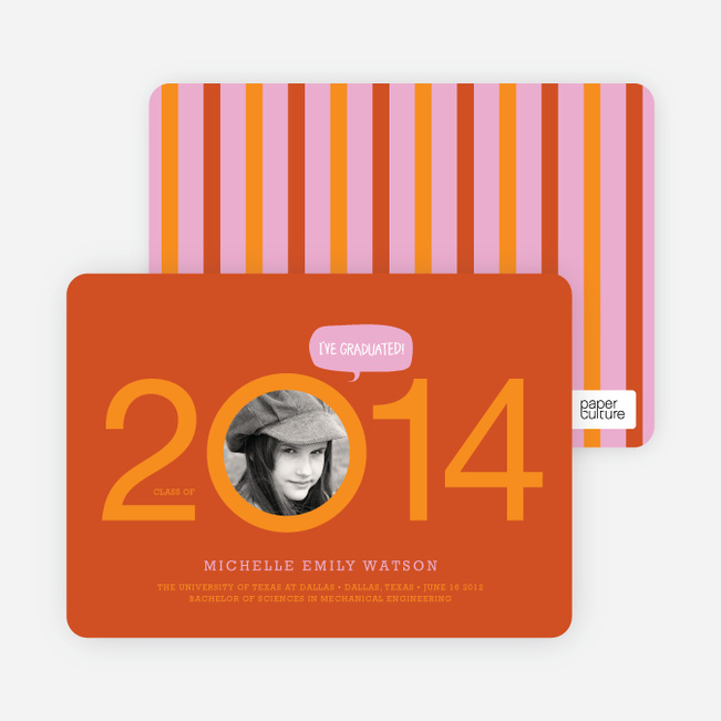 Graduation Cutout Invitations - Hot Orange