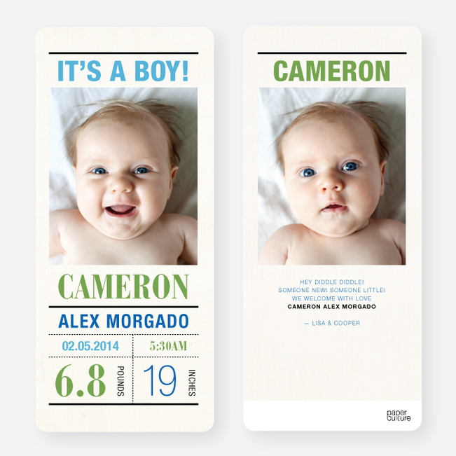 Birth Announcements for Headliners - Blue