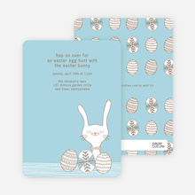 Hop on Over Easter Invitations - Blue Dash