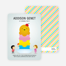 Ice Cream Sundae Birthday Party Invitations - Blue Chill