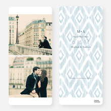 Ikat Pattern Save the Dates - Blue