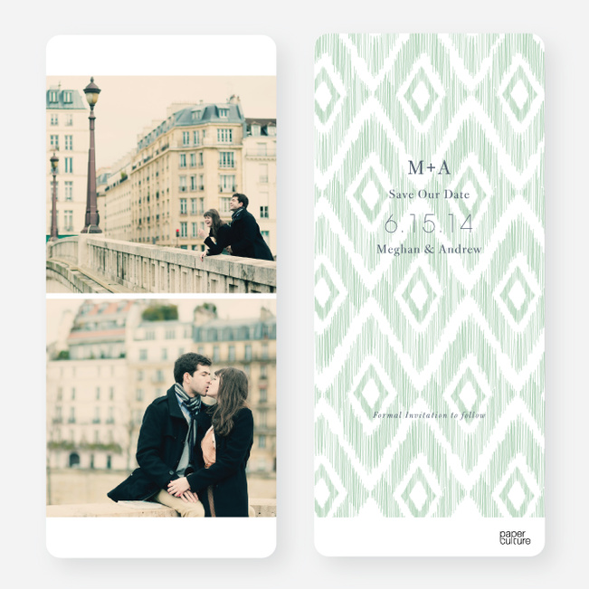 Ikat Pattern Save the Dates - Green